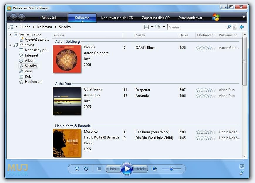 Windows Media Player - Informace o albech