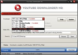 Výběr kvalityYoutube Downloader HD