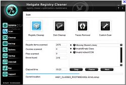 Kontrola registrůNETGATE Registry Cleaner