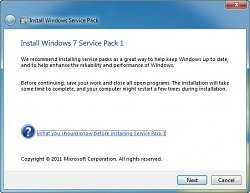 Windows 7 Service Pack 1 instalace