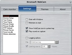 NastaveníBiromsoft WebCam Software
