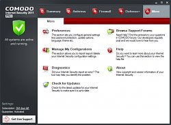 Vzhled programuComodo Internet Security