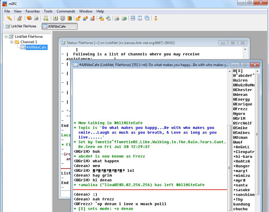 MIRC 7.38 Screenshot 1. old versions of mirc.