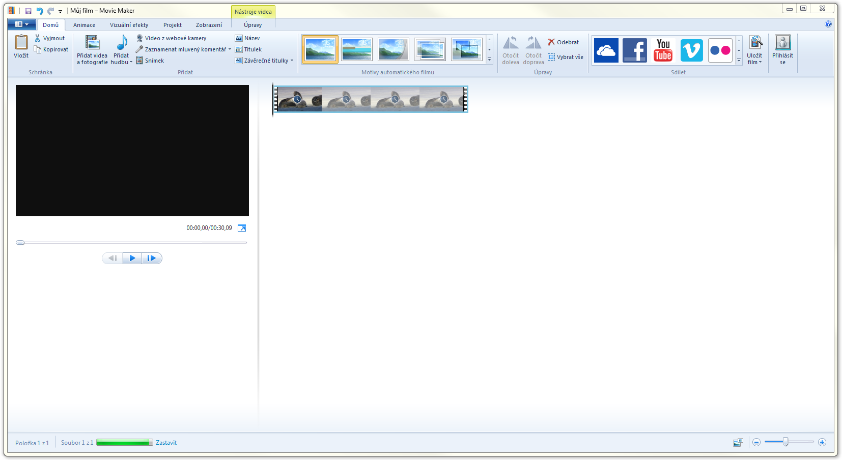 Prostředí programu Windows Movie Maker